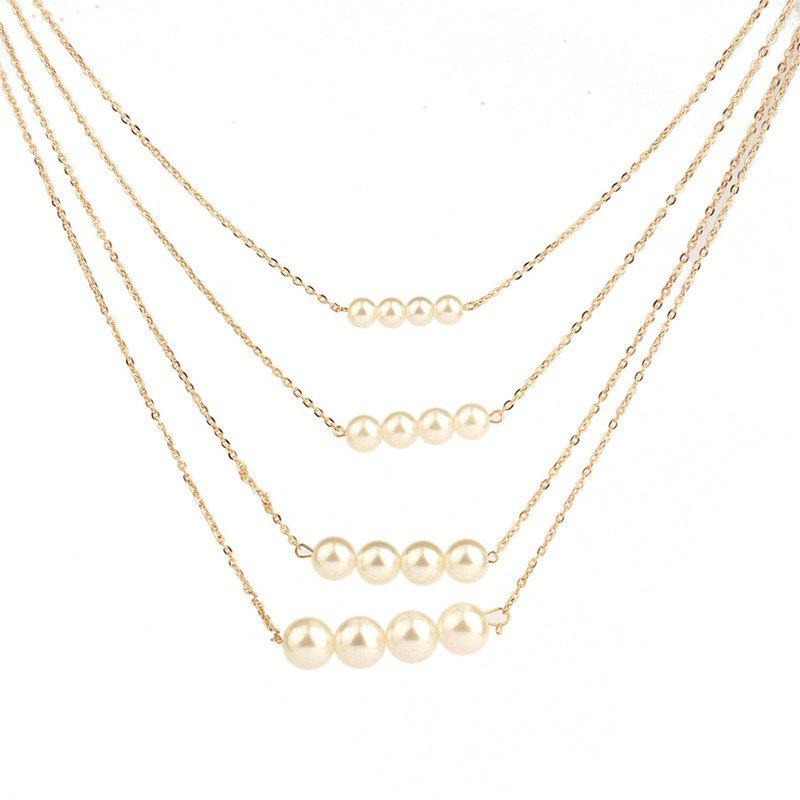 Cheap Noble and Elegant Women's Four-Layer Pearl Necklace