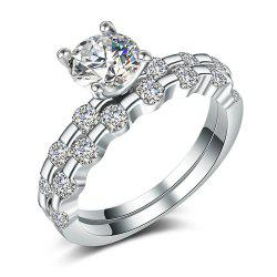 Charhoden Women'S Zirconia Double Row Round Shiny Fashion Couple Ring Bands -