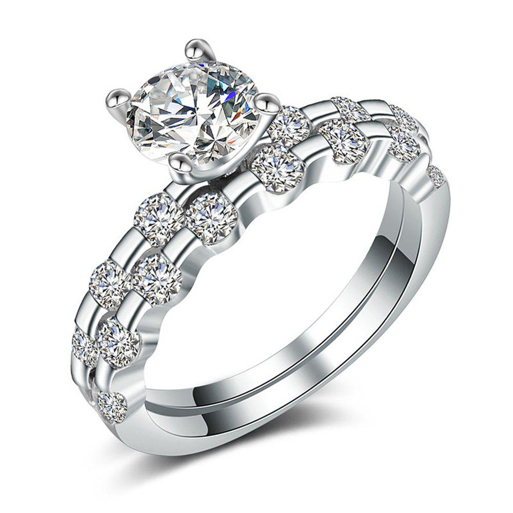 Chic Charhoden Women'S Zirconia Double Row Round Shiny Fashion Couple Ring Bands