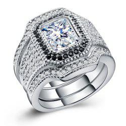 Hot Style Zircon Rings Are Plated with 925 Silver Exaggerated Three-Piece Rings -