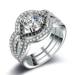 Hot Style Zircon Ring Is Plated with 925 Silver Individual Three-Piece Set -