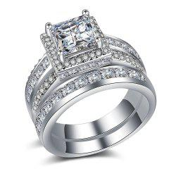Hot Style Pair Ring Wedding Engagement Ring Gold-Plated Silver Couple Ring -