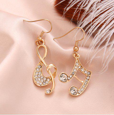 Gold Silver Music Crystal Dangle Earrings for Girl Dangle Party Fashion Jewelry