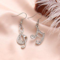 Gold Silver Music Crystal Dangle Earrings for Girl Dangle Party Fashion Jewelry -