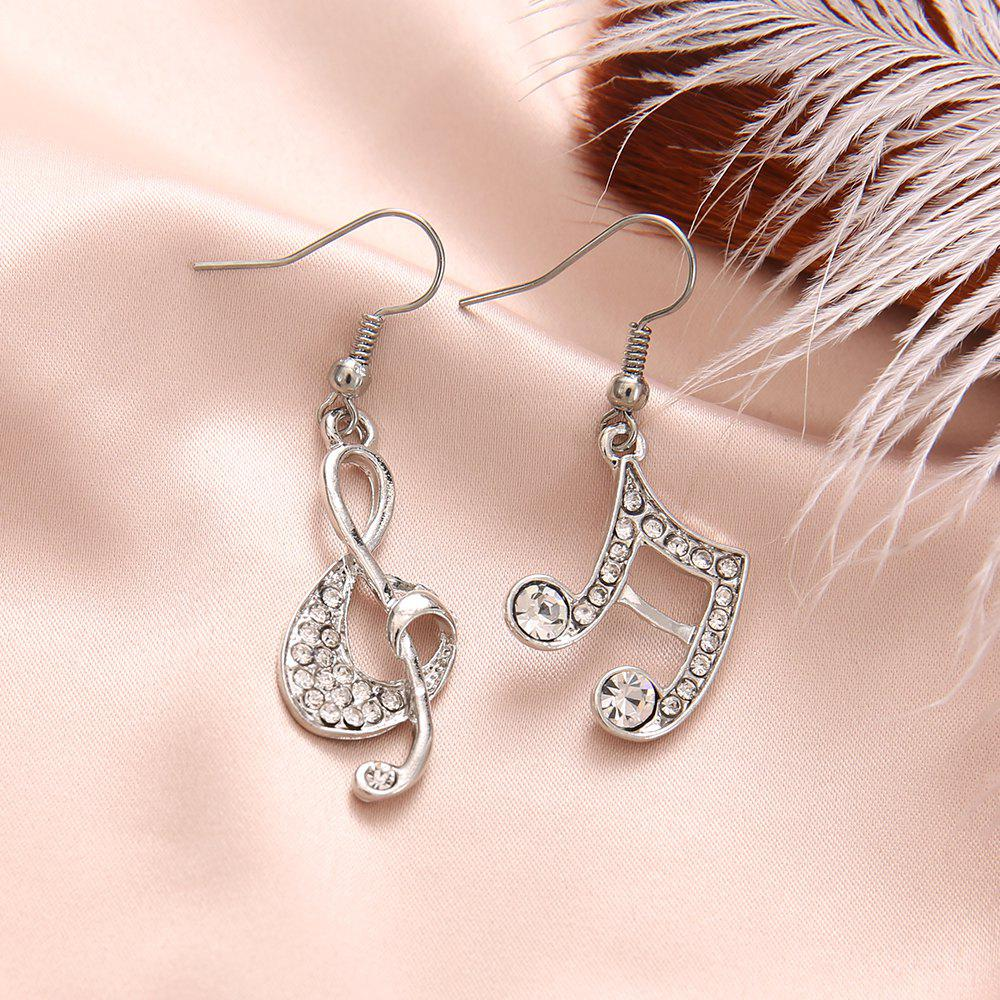 New Gold Silver Music Crystal Dangle Earrings for Girl Dangle Party Fashion Jewelry
