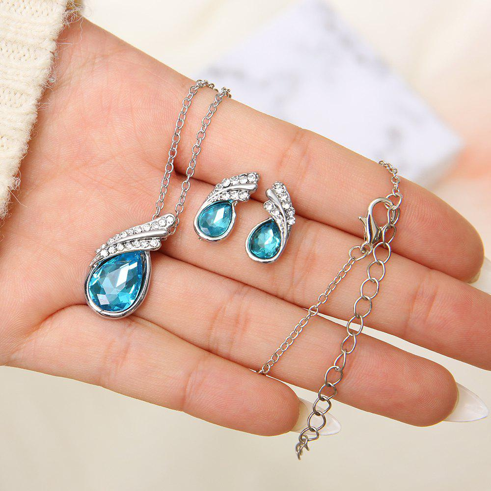 Affordable Fashion Personality Blue Diamond Angel Tear Earrings Necklace Suit Women