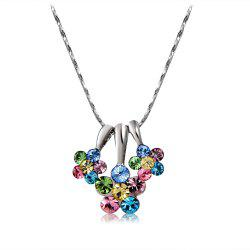 Silver Three-Petaled Flower with Colored Crystal Pendant Necklace -