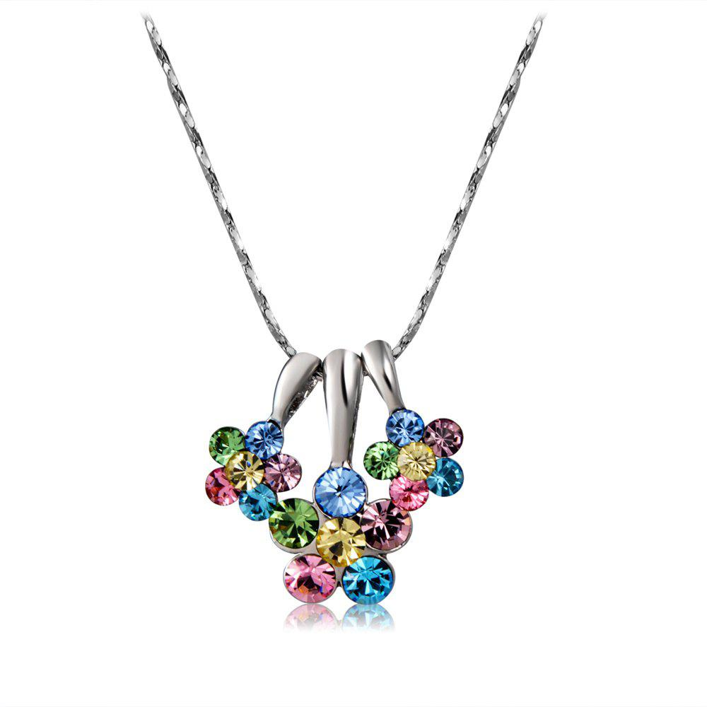 Trendy Silver Three-Petaled Flower with Colored Crystal Pendant Necklace