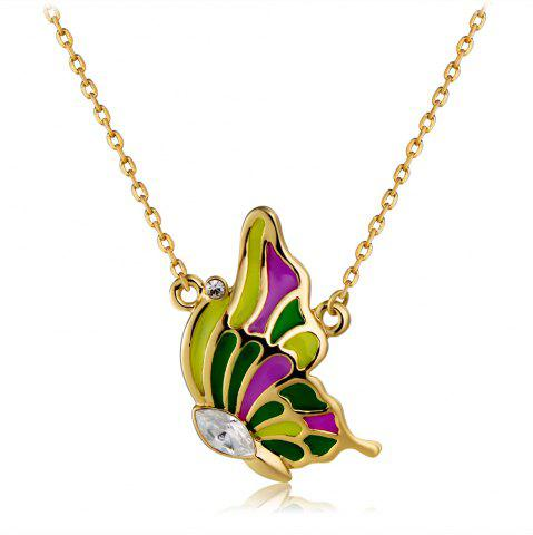 Golden Drop Oil Butterfly Crystal Pendant Necklace