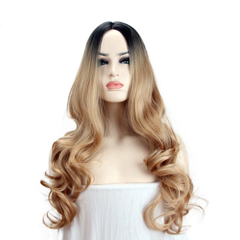 Affordable A Long Curly Wig with A Golden Tint Gradient