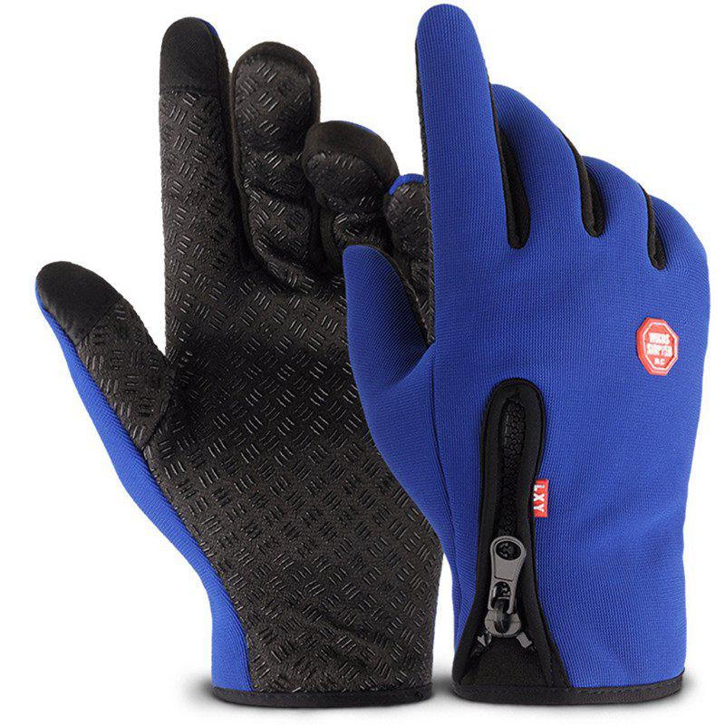 New Outdoor Sports Zipper Gloves with Warm and Velour