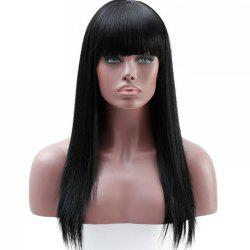Ms. Long Straight Hair Wig Chemical Fiber High Temperature Wire Head Neat Bang -