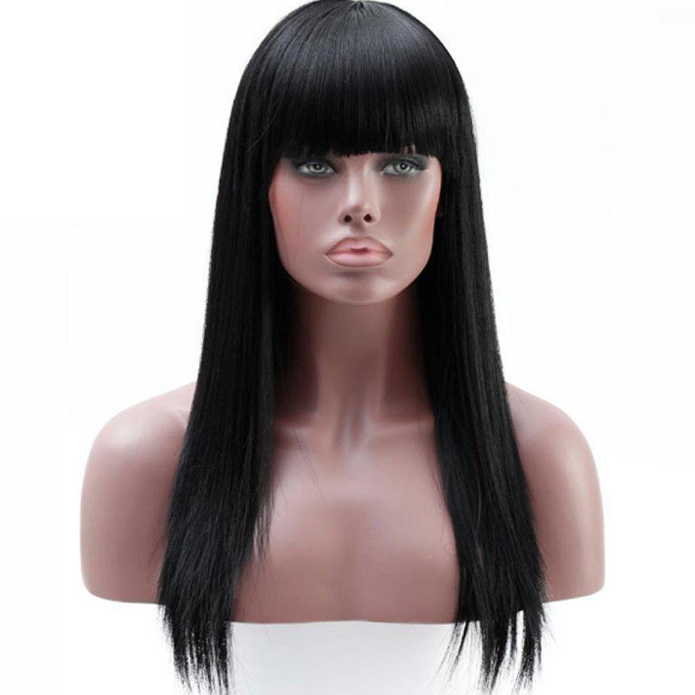 Shop Ms. Long Straight Hair Wig Chemical Fiber High Temperature Wire Head Neat Bang