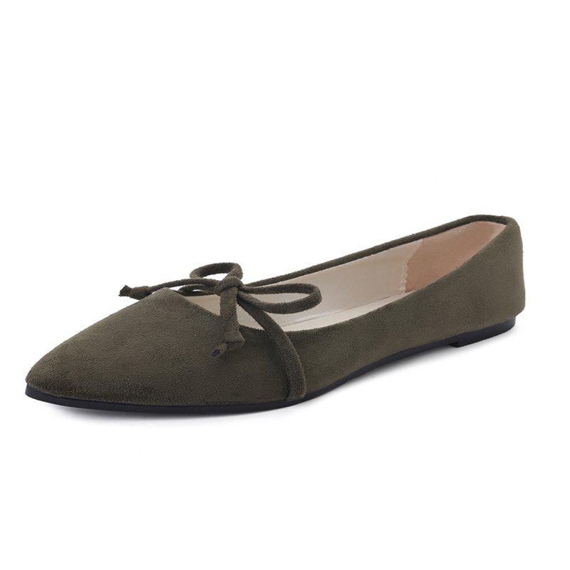 Shops Slipproof Womens Single Shoes With Pointed Flat Heels
