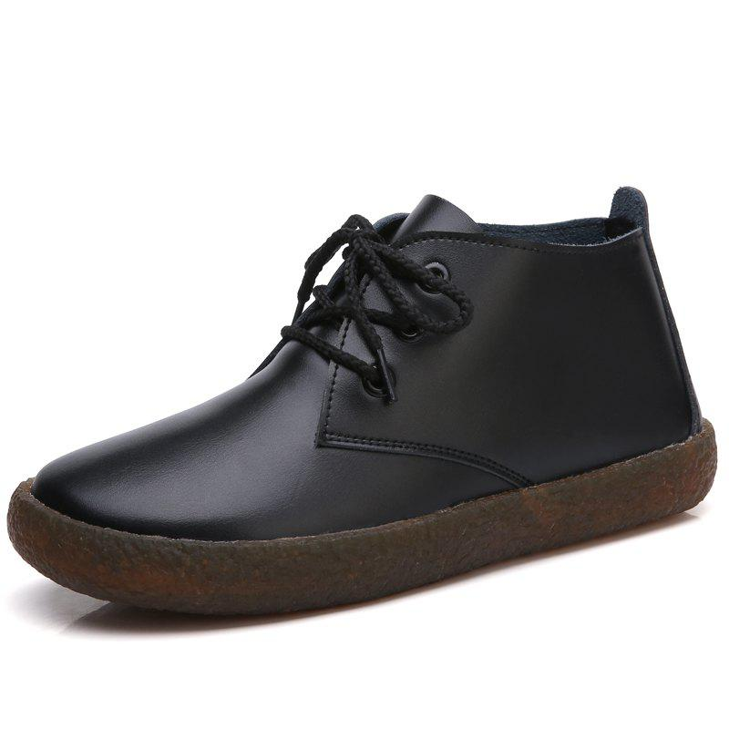 Shops Soft Leather Round Toe Women Casual Flats Ladies Patchwork Side Zipper Flat