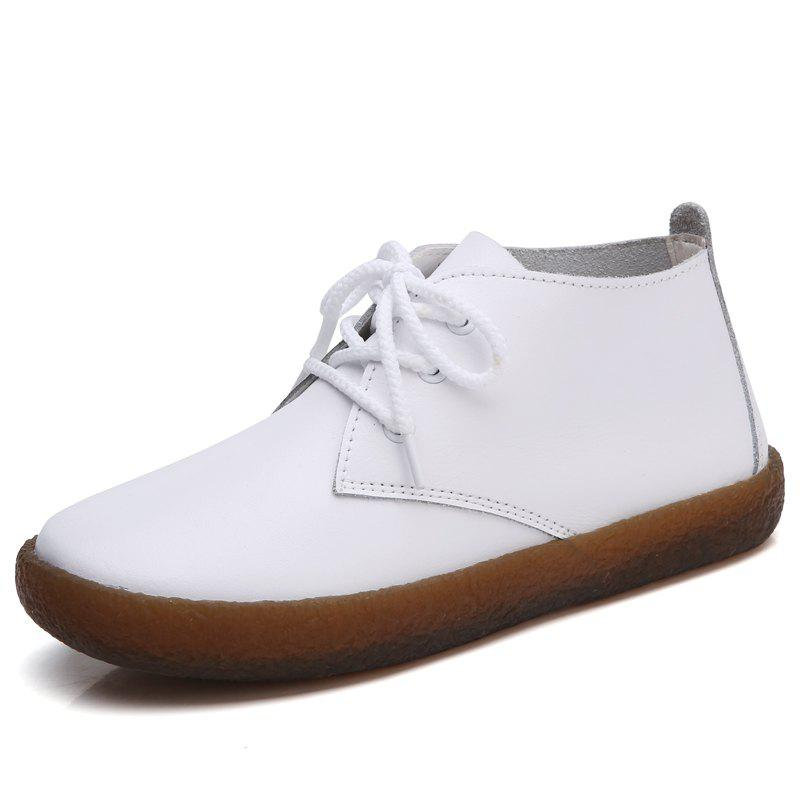 New Soft Leather Round Toe Women Casual Flats Ladies Patchwork Side Zipper Flat
