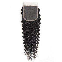 Indian Deep Wave Human Hair Weft 4x4 Free Part Lace Closure with Baby Hair -