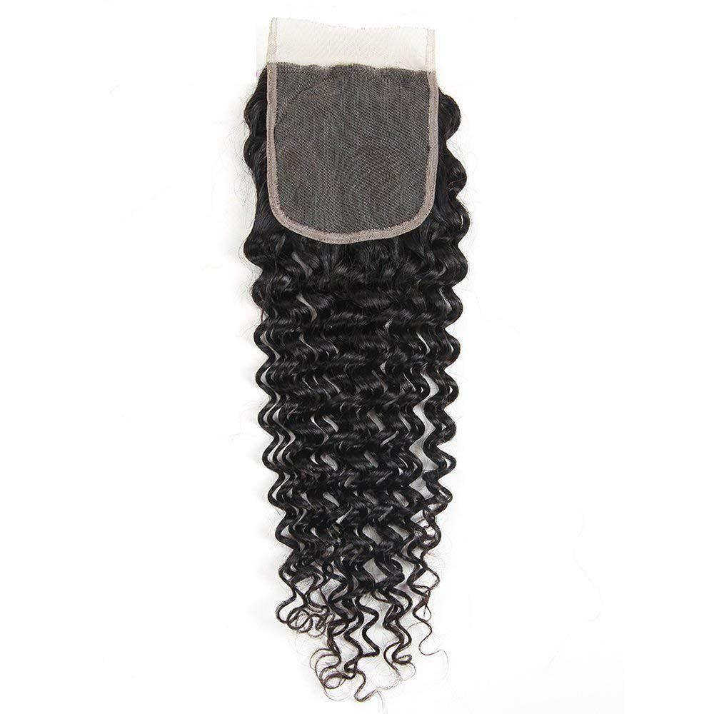 Fashion Indian Deep Wave Human Hair Weft 4x4 Free Part Lace Closure with Baby Hair