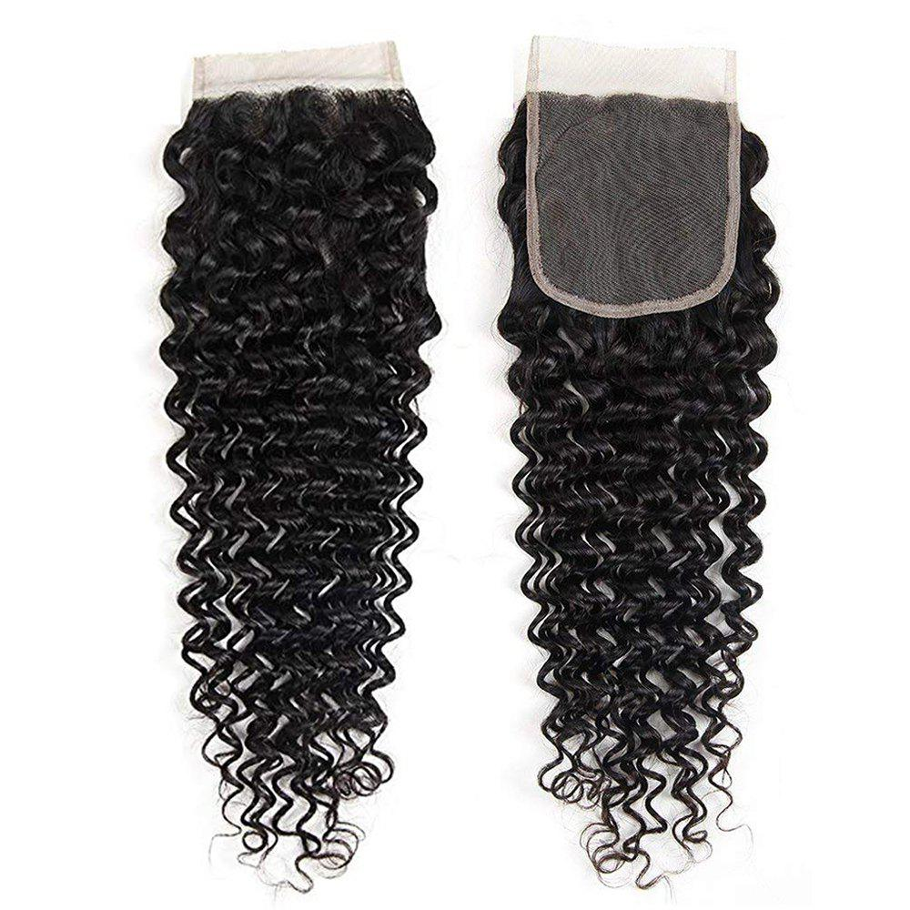 Shop Peruvian Human Hair Extensions Deep Curly 4X4 Inch Lace Closure