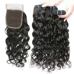 Brazilian Water Wave 3 Bundles with Closure Human Hair with 4X4 Lace Closure -