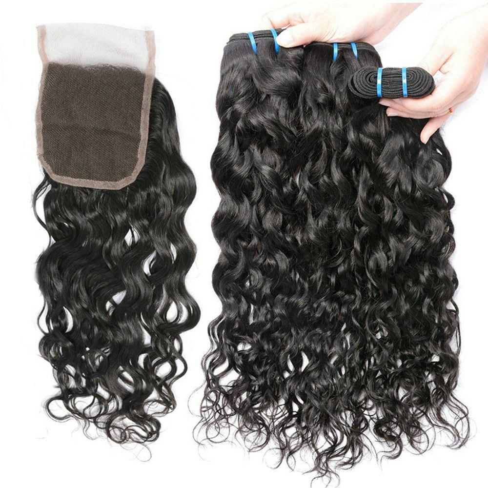 Store Brazilian Water Wave 3 Bundles with Closure Human Hair with 4X4 Lace Closure
