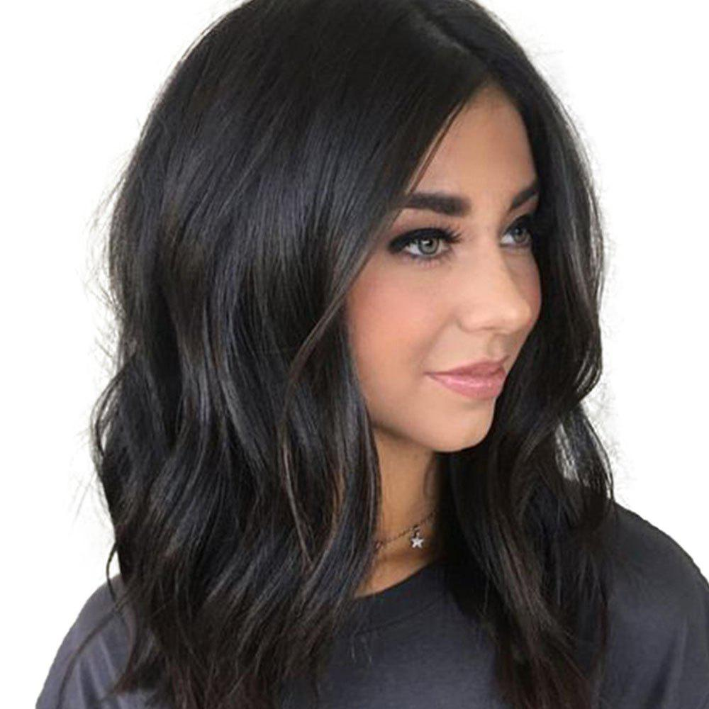 Women S Synthetic Hair Wig Solid Black Color Medium Curly Hair Wig