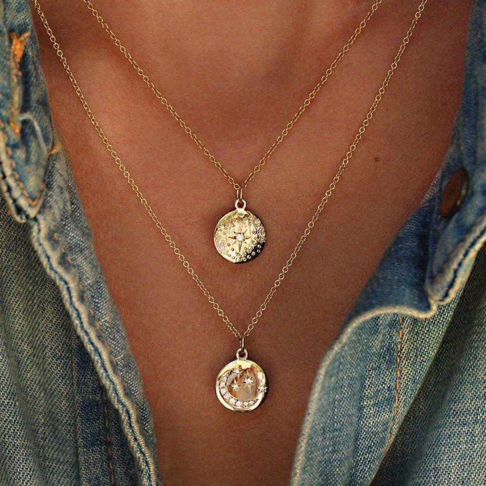 50b7faae7d4 Outfits Women'S Fashion Necklaces Geometric Round Star-Moon Pendant  Necklace Set