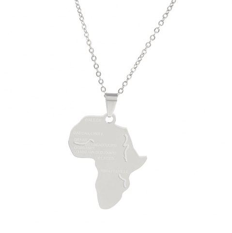 Fashion Personality Africa Map Pendant Necklace Alloy Jewelry Tags Clavicle Chain