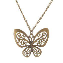 Antique Bronze Hollowed-Out Butterfly Sweater Necklace -