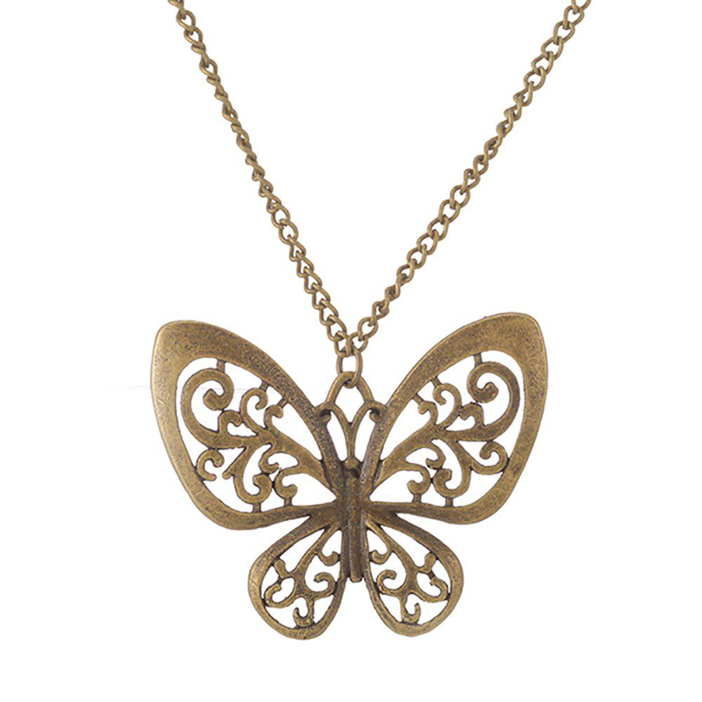 Affordable Antique Bronze Hollowed-Out Butterfly Sweater Necklace