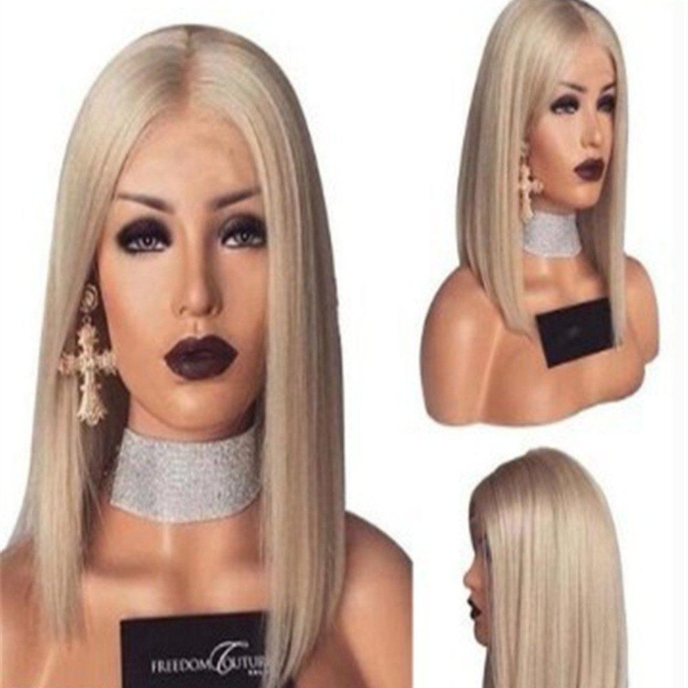Shops European and American Wig Female Light Gold in The Middle Long Straight Wig
