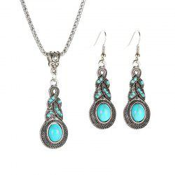 Vintage Crystal Turquoise Earrings Necklace Jewelry Set -