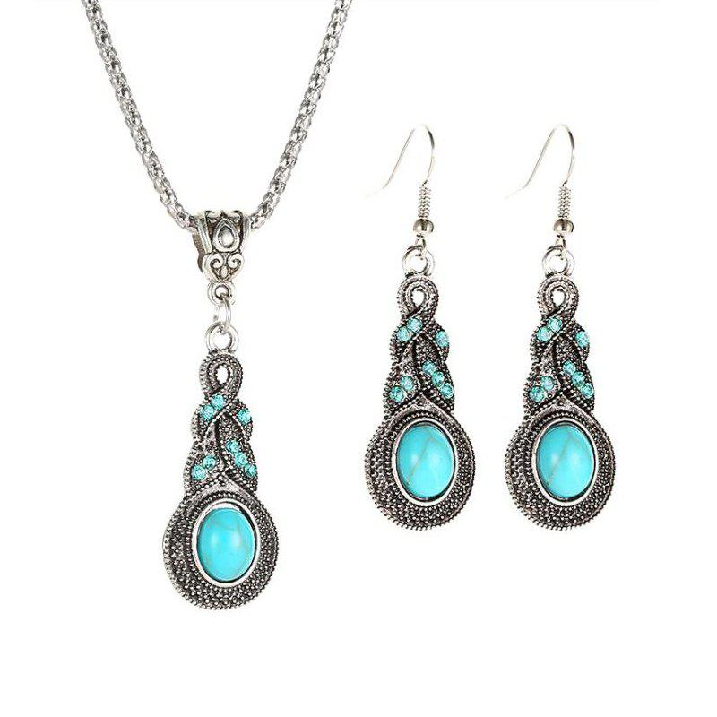 Outfit Vintage Crystal Turquoise Earrings Necklace Jewelry Set