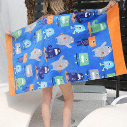 No Lint No Color Cartoon Active Print Cotton Beach Towel -