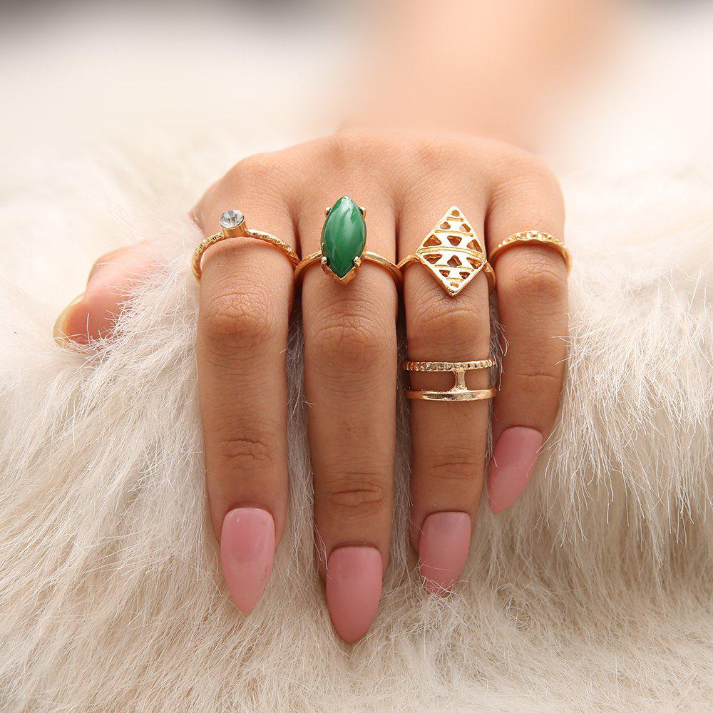 Outfit 5 PCS/Set Green Red Stone Rings Set Women Gold Wave Crystal Knuckle Rings
