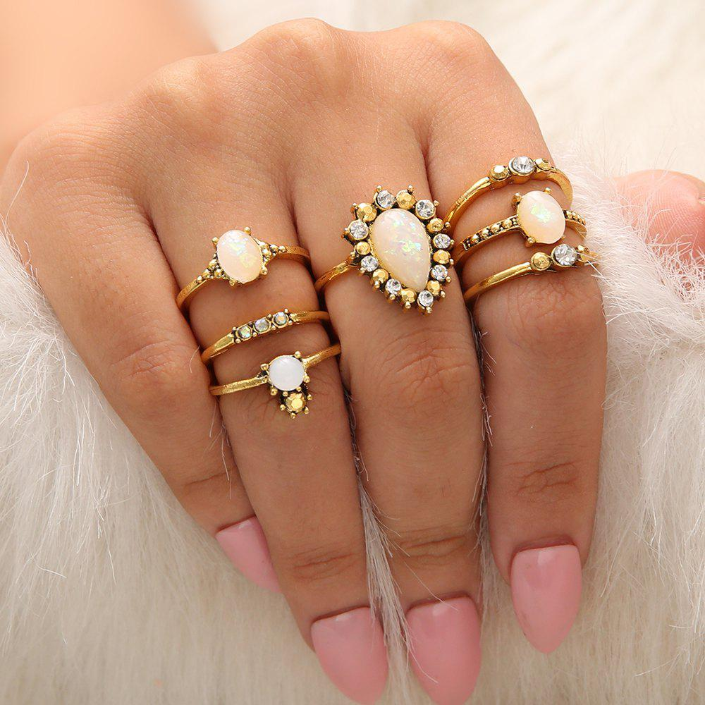 Latest 7 PCS/Set Gold Color Opal Flower Rings Set Women White Crystal Ring