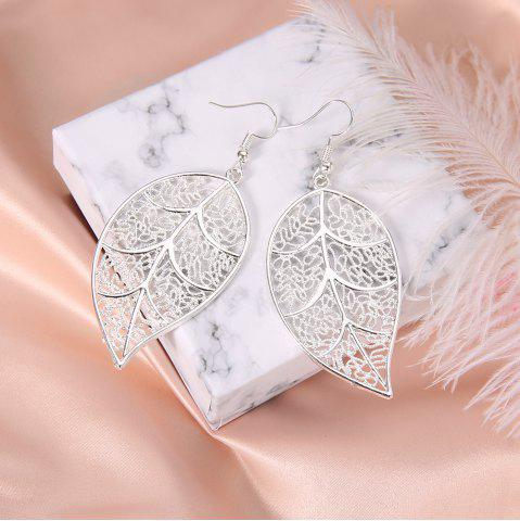 5d3e23204 Silver Plated Openwork Tree Leaf Earrings Creative Exaggerated Earrings  Jewelry
