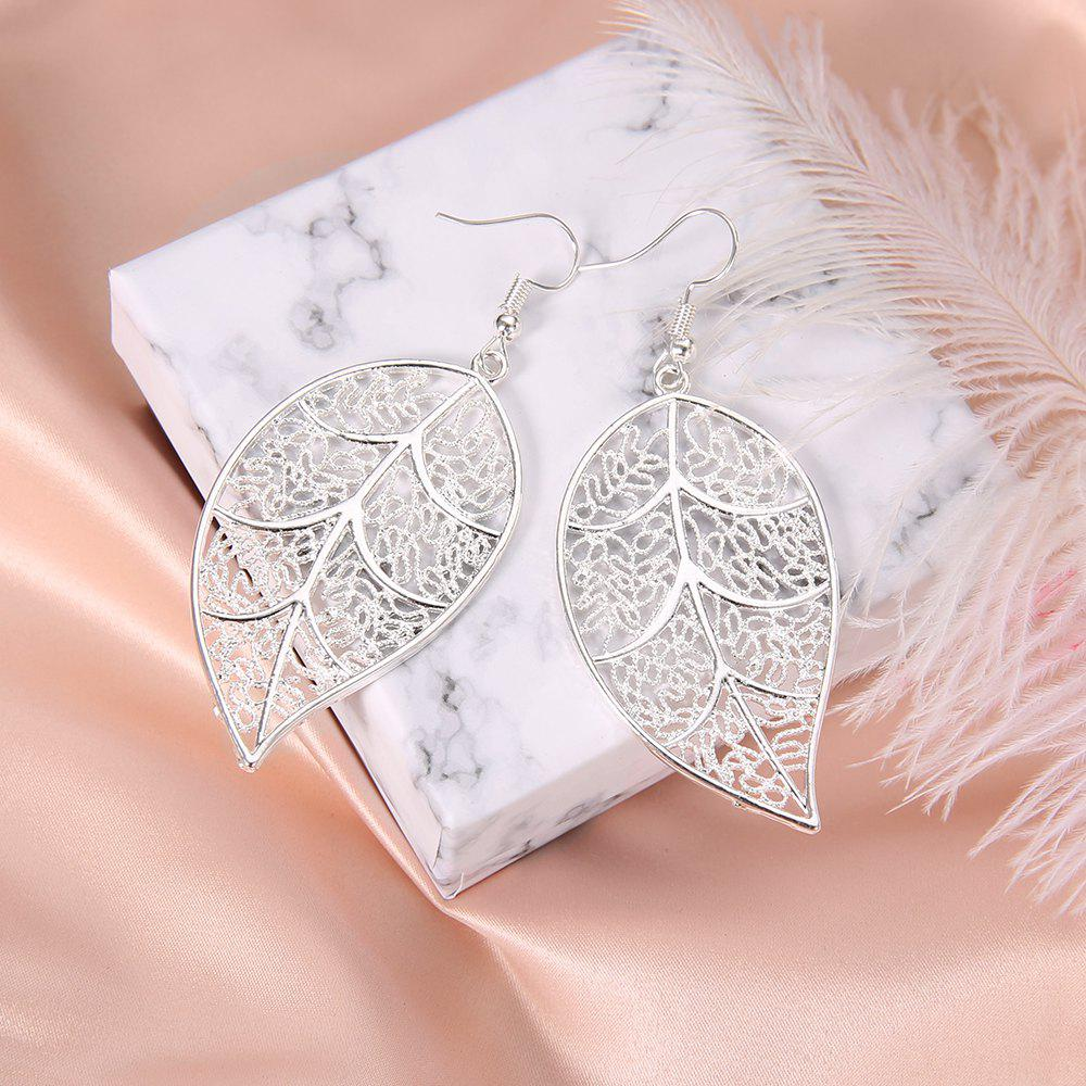 New Silver Plated Openwork Tree Leaf Earrings Creative Exaggerated Earrings Jewelry