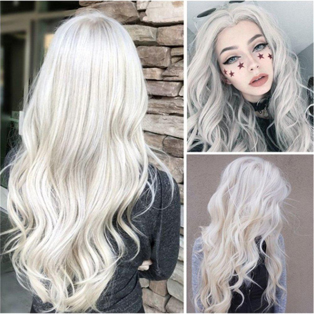 Discount Women'S Chemical Fiber High Temperature Silk White Side Long Curly Hair Wig