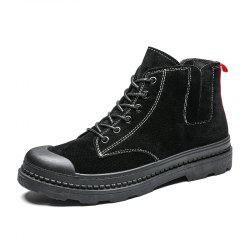 Add cotton Boots Mens Winter Ankle Boots Men Leather Double Zipper Side Thick -
