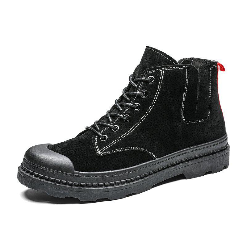 Online Add cotton Boots Mens Winter Ankle Boots Men Leather Double Zipper Side Thick