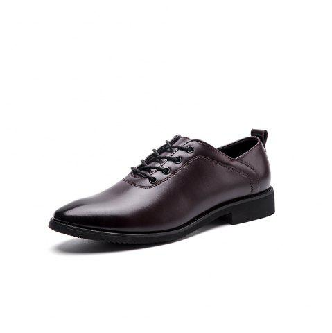 Image of Leather Business Dress Trend Brock Increase Men S Shoes Black Casual Wild