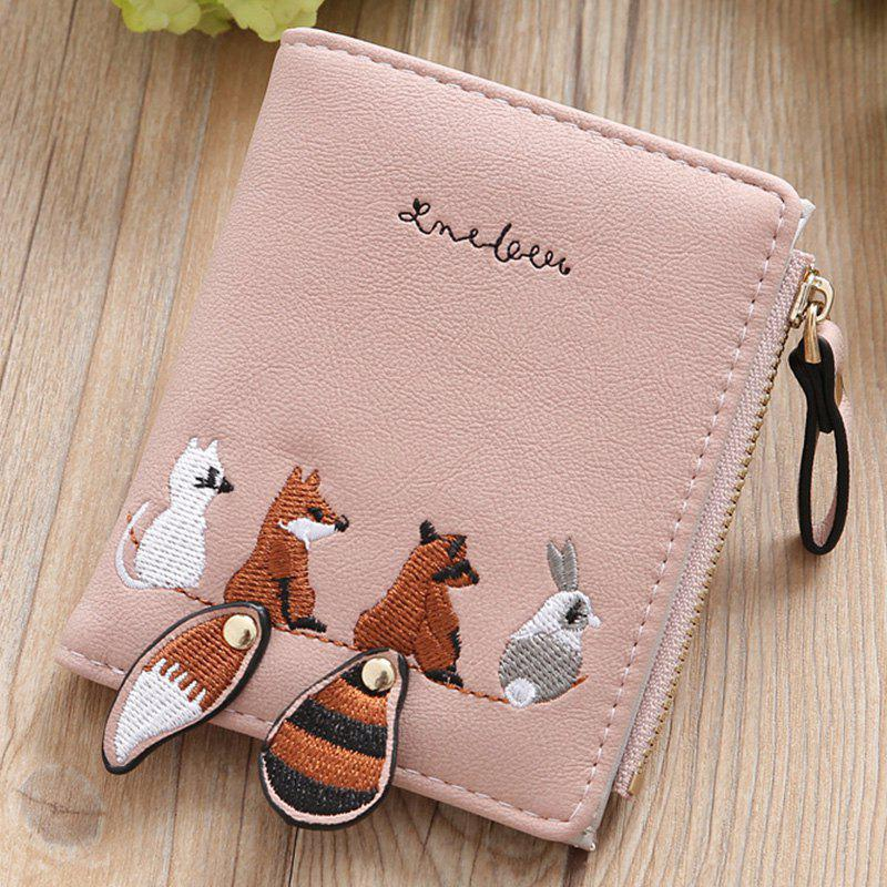Outfits New Lady Fashion Korea Lovely Embroidery Fold Money Clips