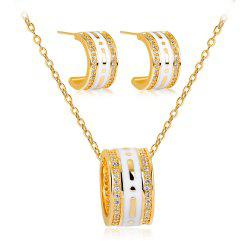 High-End Atmospheric Drop Glaze Copper Diamond Necklace Earrings Jewelry Set -