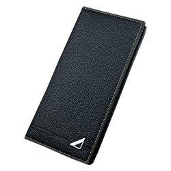 New Men'S Wallet Long Section Three Fold Solid Color Soft Wallet Multi-Card Hold -