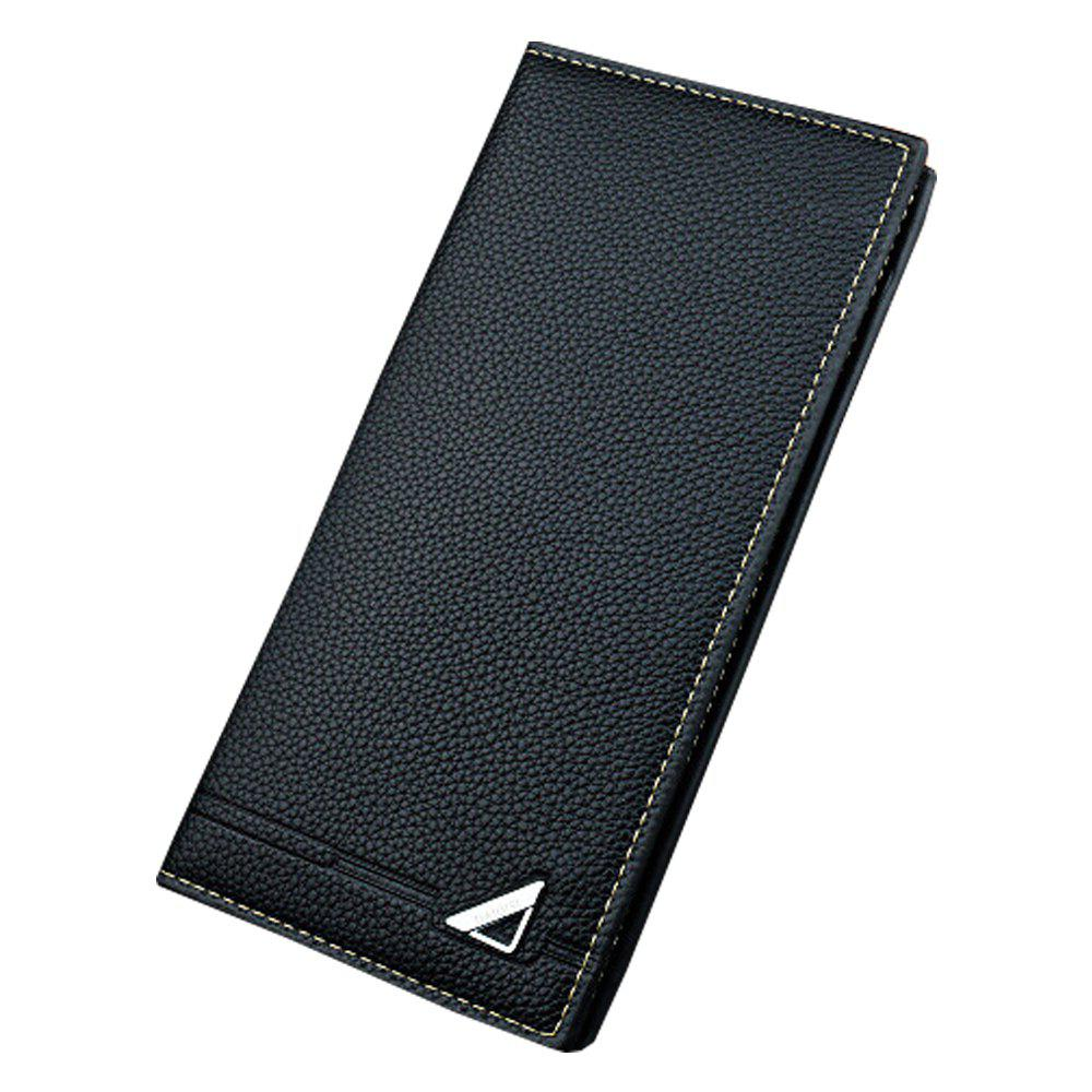 Latest New Men'S Wallet Long Section Three Fold Solid Color Soft Wallet Multi-Card Hold