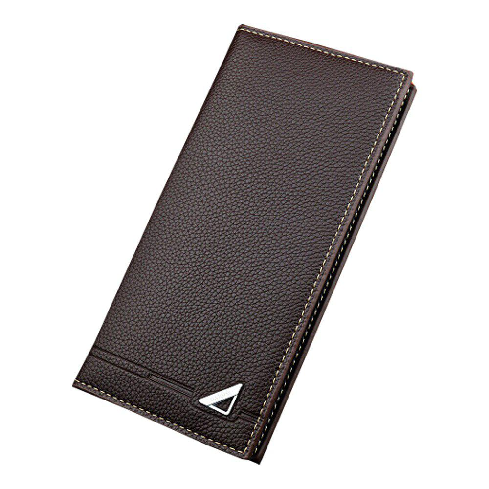Fancy New Men'S Wallet Long Section Three Fold Solid Color Soft Wallet Multi-Card Hold