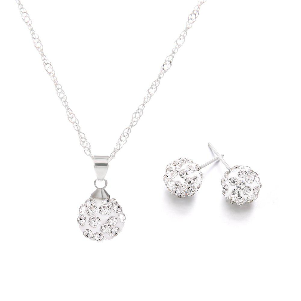 Outfit Crystal Zircon Necklace Earring Women'S Diamond Ball Pendant Fashion
