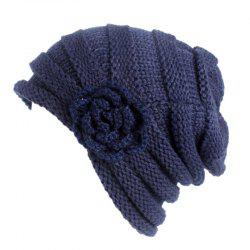 New Woman Fashion Handwork Floral Solid Casual Warm Winter Sweater Hat -