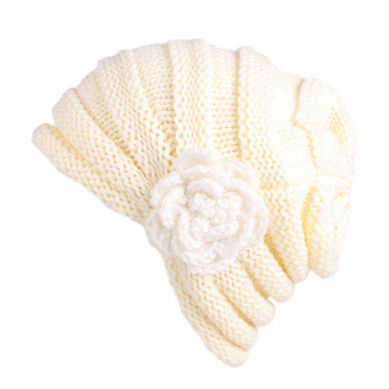 Affordable New Woman Fashion Handwork Floral Solid Casual Warm Winter Sweater Hat